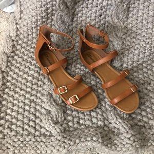 Cute cognac flat sandals
